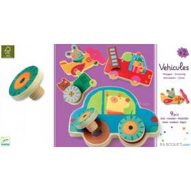 Véhicule vissages jouets en bois