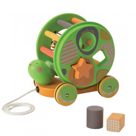 Wooden Shape Sorter and Pull-along Toy - Les Papoum