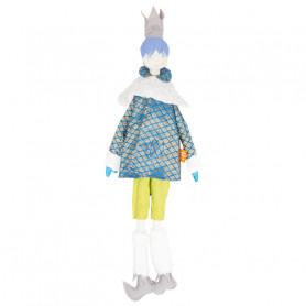 Poupée Roi - Les Cocozaks - cheveux mauve, cape dorée fond bleu