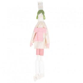 Poupée Reine - Les Cocozaks - natte verte, couronne beige