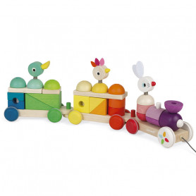 Zigolos Giant Multicolor Train - Wooden Toy