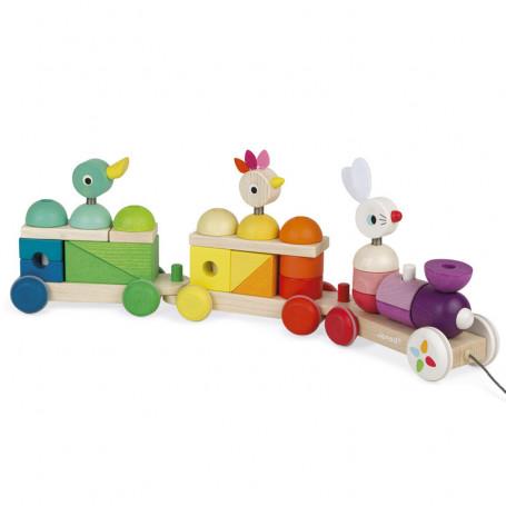 Train Géant Multicolor Zigolos - Jouet en bois