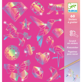 60 Stickers à gratter Holographique Diamant