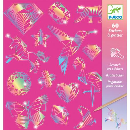 60 Stickers à gratter Holographique Diamant