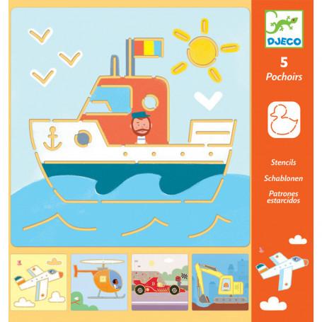 5 pochoirs - Transport & Co