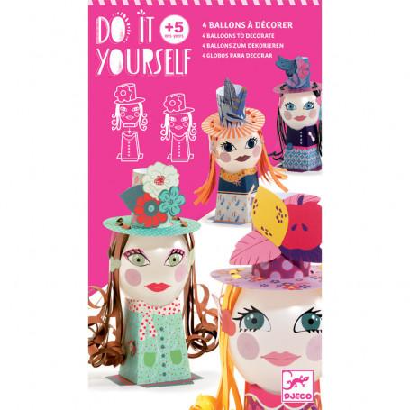 Do It Yourself Demoiselles - 4 ballons à décorer