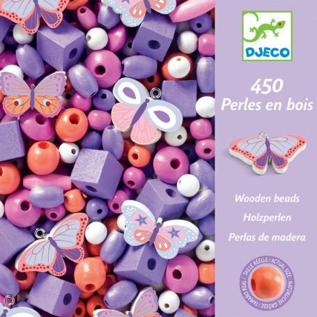450 perles en bois - Papillons
