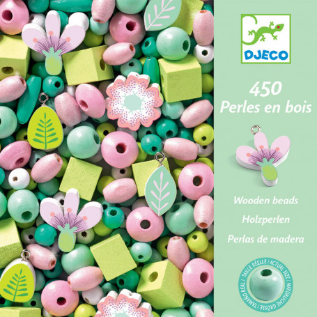 450 Wooden beads - Leaves and flowers