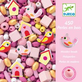 450 perles en bois - oiseaux