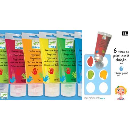 6 tubes de peinture à doigts