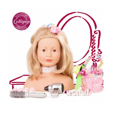 """Tête à coiffer et à maquiller Götz, 50 pièces, Edition """"Lollipop"""" blonde"""