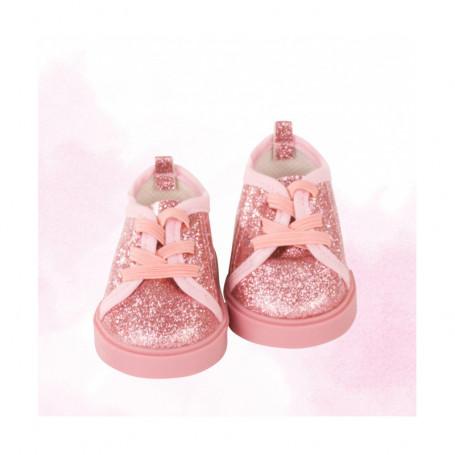 Baskets rose paillette pour poupées Götz 42-50 cm