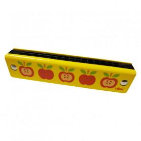 Harmonica en bois - motifs pommes