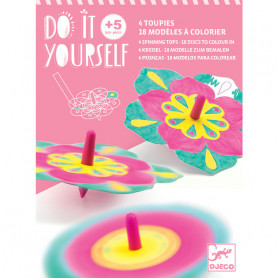 Do It Yourself flowers - 4 spinning top ans 18 discs to colours in