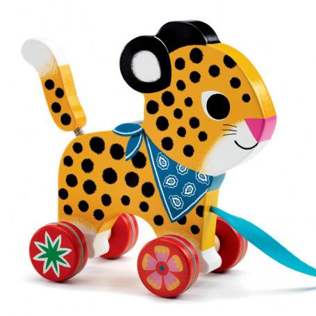 Leopard Greta wooden pull toy