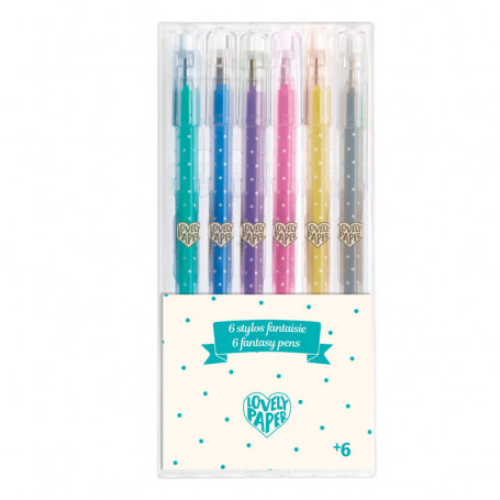 6 stylos gel pailletés - Papeterie Djeco