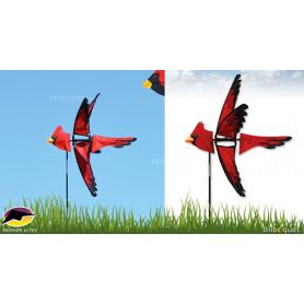 Eolienne de jardin Oiseau Cardinal