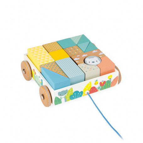 Chariot de Cubes à Promener Pure - jouet d'éveil en bois