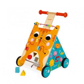 Chariot Multi-activités Chat - jouet d'éveil en bois