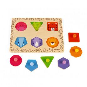 J'apprends les Formes Géométriques Animaux de la Jungle - jouet d'éveil en bois