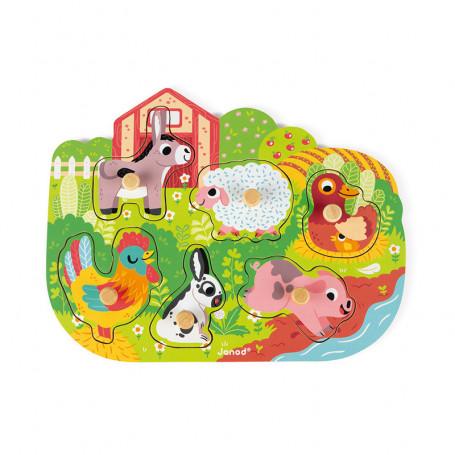 Puzzle en bois Happy Farm - 6 pièces