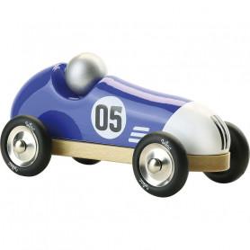 Voiture vintage sport bleu et blanc 20cm