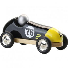Voiture vintage sport noir/jaune 20cm