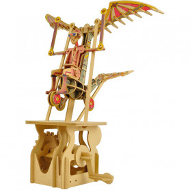 A moving mechanical wooden automata - Icare