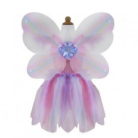 Robe papillon rose avec ailes et baguette - déguisement fille