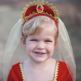 Royal Veil with ruby red tiara - Girl's disguise accessory