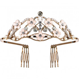 Golden crown with Suzanne flowers - Girl accessory