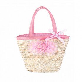 Natural straw bag with pink flowers - accessory for disguise