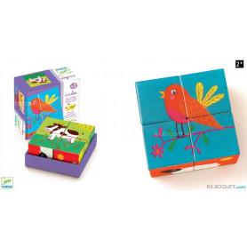 4 cubes en bois Ferme colorée