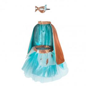 Set de super-héroine avec jupe/cape/masque, turquoise/cuivre - 4/6 ans