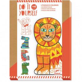 4 puzzles à colorier animocolor - Do it Yourself Djeco