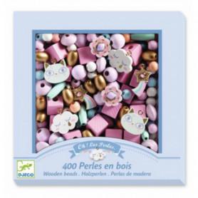 """400 Perles en bois """"Arc-en-ciel"""" - Djeco"""