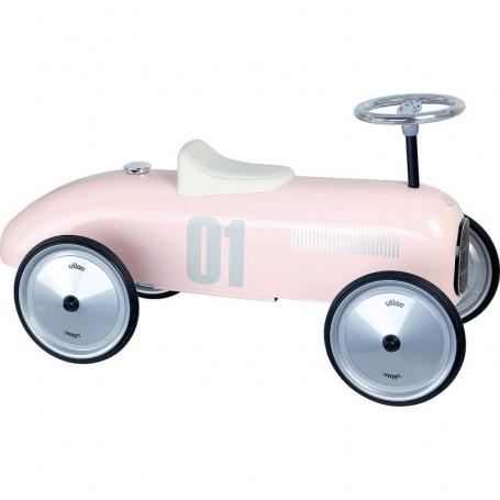 Porteur voiture vintage rose tendre
