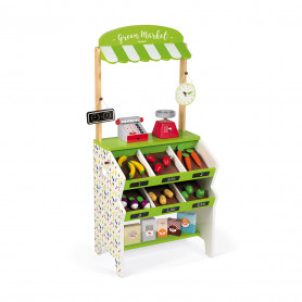 Green Market Grocery with 32 accessories - Pretend-play Toy