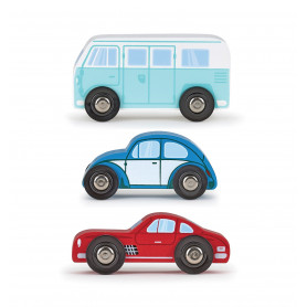 Set of 3 small wooden cars