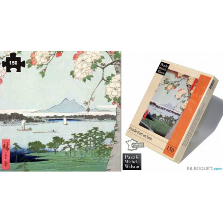 Pommiers en fleurs (Utagawa Hiroshige) Puzzle en bois