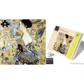 La dame à l'éventail (Gustav Klimt) Puzzle d'art en bois