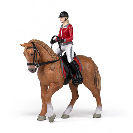 Walking horse with riding girl - Papo Figurine