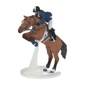 Cheval de saut d'obstacle et son cavalier - Figurine Papo