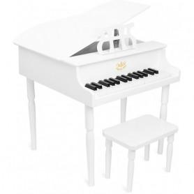 White grand piano with sheet music