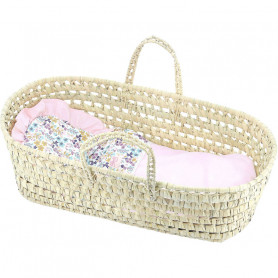 Natural palm basket with pink Liberty filling for dolls from 36 to 50 cm