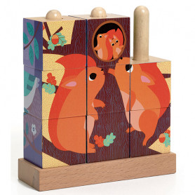 Puzz-Up Forest 9 pieces - Wooden puzzle-cube
