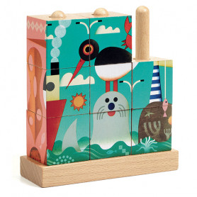 Puzz-Up Sea 9 pieces - Wooden puzzle cubes