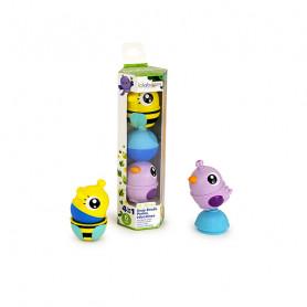 Tube 2 forest animals + 1 pearl - Lavender bird assortment