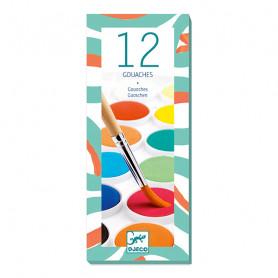 Palette de 12 pastilles de gouache pinceau à réservoir