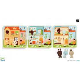 Cottage des lapins - Puzzle 3 niveaux en bois